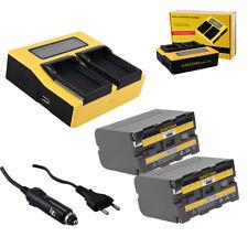 2x Batteria Patona + caricabatteria rapido DUAL LCD per Sony HVR-M10U,HVR-NX5E