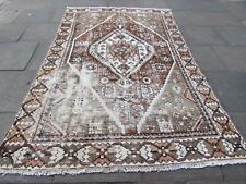 Vintage Shabby Chic Hand Made Traditional Oriental Wool Brown Carpet 291x187cm