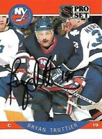 Bryan Trottier Signed 1990 Pro Set New York Islanders NHL Card - COA - Penguins
