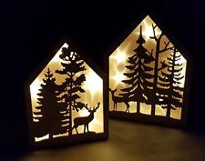 LED Deko Haus   2er Set   Echt Holz Weihnachtsdeko Fensterdekoration  Beleuchtet