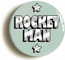 ROCKET MAN SEVENTIES BADGE BUTTON PIN (Size is 1inch/25mm diameter) 1970s