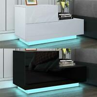 Bedside Table Nightstand Cabinets w/2 Drawer Matt Body RGB LED Black/White