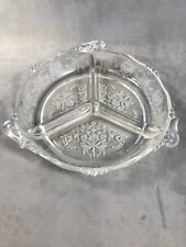 PV02459 Clear Heisey #1401 EMPRESS with #507 ORCHID Etch- 3 Part Relish