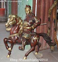 104cm Huge Bronze Gild Dragon Guan Gong Yu Warrior God Sword Ride Horse Statue
