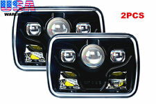 "2x Cree LED Projector Headlights 7x6"" Sealed Beam Headlights Black DOT Approved"