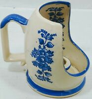 VINTAGE HALF CUP CANDLE HOLDER COLLECTABLE UNMARKED DELFT HOLLAND BLUE WHITE