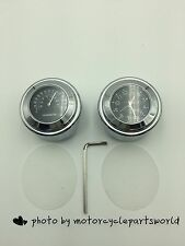 """NEW 7/8"""" 1"""" Motorcycle Watch Handlebar Mount White Dial Clock & Temp Thermometer"""