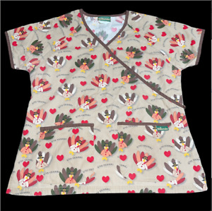 Womens Tan Uniform Advantage Thanksgiving Turkey Scrubs Shirt Size Medium Nurse