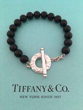 "Tiffany & Co Sterling Silver 8 mm Beads Black Onyx Toggle Bracelet 8"""