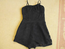 LADIES CUTE BLACK LACE LINED SHORTS PLAYSUIT BY SUPRE - SIZE S - AUS 8/10 -CHEAP