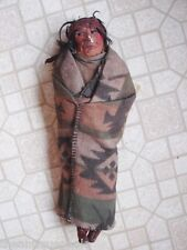"Antique Early Skookum Mary Francis Woods Indian Chief 14"" Doll in Tight Blanket"