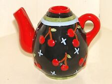 Pretty 1998 Collectible Mary Engelbreit Teapot Candle Holder Black W Cherries!