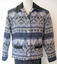 Woolrich Jacket Size Small Black Blue Gray Western Print Wool Blend Leather Trim