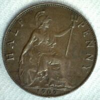 1909 Great Britain Large Half Penny Bronze Coin 1/2c British Coin YG You Grade