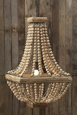 FRENCH FARMHOUSE COUNTRY  BEADED WOOD PENDANT CHANDELIER