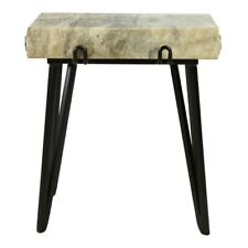 """21.5"""" T Set of 2 Accent Table One of a Kind Solid Marble Slab Black Iron Base"""