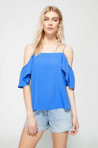 New WITCHERY Blue Short Sleeve Top Blouse Size 6 Small S BNWOT