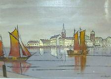 Tableau Peinture à l'huile À 1970 Signé Port Schif Voile Canal