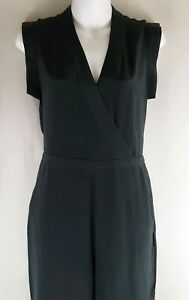 Madewell 100% Silk Yates Jumpsuit Size 0 Green With Pockets