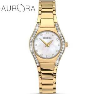 Sekonda Aurora White Mother of Pearl Dial Gold Bracelet Ladies Watch 2239