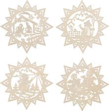 4x Pendenti Albero IMPICCAGIONI letto Di Natale legno accessorio per 8 CM 4