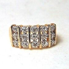 18K GOLD OVER STERLING SILVER DYNAMIC STRIPED RING WITH DIAMOND ACCENTS SIZE 10