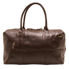 Rowallan - Chocolate Brown Grained Cowhide Leather Bowland Travel Bag/Holdall