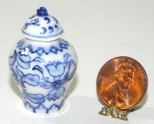 Dollhouse Miniature Ginger Jar with Lid Blue White Porcelain Falcon Minis 1:12