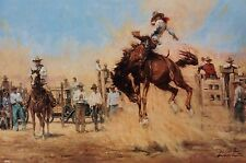 """John Austin Hanna Signed Numbered Print """"On Top Of The World"""" Rodeo Series COA"""