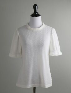J.CREW NWT Pointelle Sheer Stretch Knit Ruffle Puff Sleeve Top Ivory Size Small
