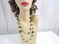 "DABBY REID Emerald Green Cat's Eye Semi Precious Mix 45"" Necklace & Earrings"