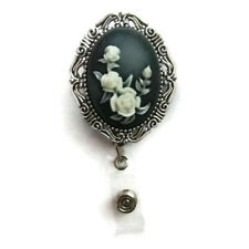 Cameo Flowers 3D Silver badge holder Professional ID wear, badge reel jewelry