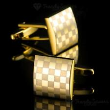 TOP QUALITY 18K GOLD PLATED MEN'S SQUARE WEDDING PARTY BUSINESS CUFFLINKS