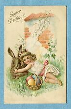 """A 4983   Postcard  """"Easter Greetings""""  Child Holding Rabbit, Wall, Easter Eggs"""