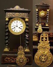 AA rare pendule Nap III horloge portique à colonnes torsadées marqueterie