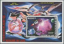 LAOS Bloc N°49B** UPU, Espace, 1975 Space Sheet MNH
