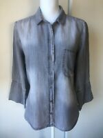 Cloth & Stone Shirt Size Medium Gray Womens Blouse Burton Down High Low Soft