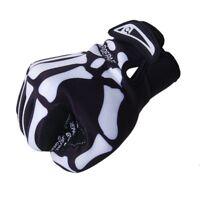 Qepae Velos Squelette Motif complet Doigt chaude Gants de velo noir + blanc A1V1