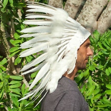CLEARANCE PRICE! Native American Indian Style Feather Headdress - All White Duck