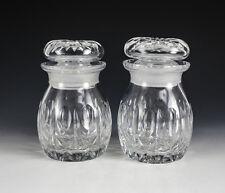 Pair of Webb Corbett Condiment Jars, Pattern WEC26, Cut ovals, cris cross cuts.