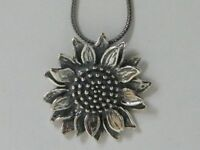 """N02124 SHABLOOL ISRAEL Handcrafted 18"""" Sterling Silver 925 Sunflower Necklace"""