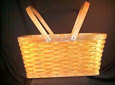 Vtg Wooden Picnic Basket Woven Slats Retro Mid Century Open Old Classic Design