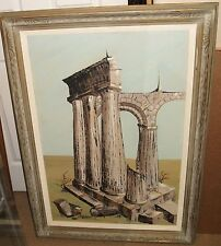 DI GIOVANNI ROMAN RUINS HUGE VINTAGE OIL ON CANVAS PAINTING