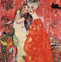 Wonderful Oil painting Gustav Klimt - Girlfriends lovers portrait canvas Lesbian