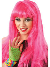 Hot Neon Pink 80's 90's Fancy Dress Wig Hen Night Party Glamour Ladies Boogie