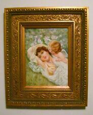 Artist Original Signed Art Nouveau Lady Laying in Grass Cherub Framed Painting