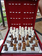 CHESS SET ORNATE MIDDLE EASTERN BONE CARVED WITH INLAID BOARD