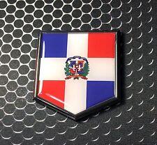 "Dominican Republic Flag Domed CHROME Emblem Proud Flag Car 3D Sticker 2""x 2.25"""