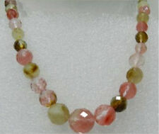 Natural!A+++ 6-14mm Faceted Watermelon Tourmaline Gemstone Necklace 17''