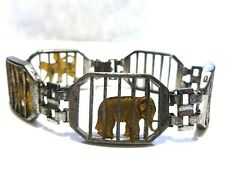 "RARE COLLECTOR AMICO STERLING SILVER CARNIVAL ANIMAL TROLLY TRAIN BRACELET 7.25"""